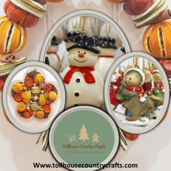Tollhouse Country Crafts logo along with christmas decorations