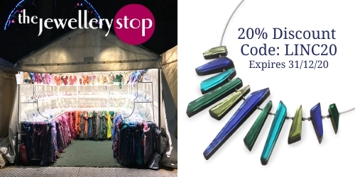 Jewellery Stop logo with a photo of stall along with a 20% discount code: LINC20 valid till 31/12/20