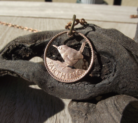 Hand carved Farthing coin made into jewellery