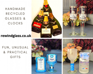 Rewind Glass' products including clock and drinking glasses made from bottles