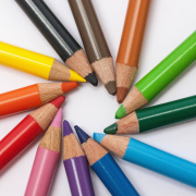 Colouring Pencils in a rainbow of colours